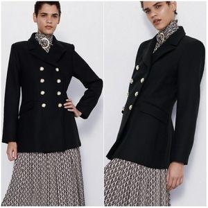 NWT | ZARA Black Double Breasted Wool Coat Jacket